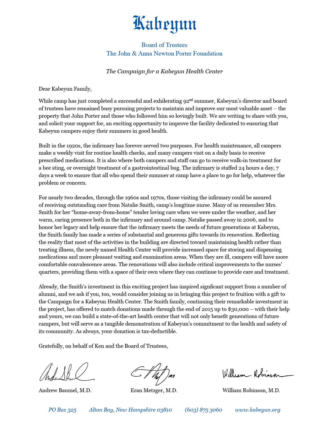 Read the Health Center Campaign appeal letter from members of Kabeyun's Board of Trustees